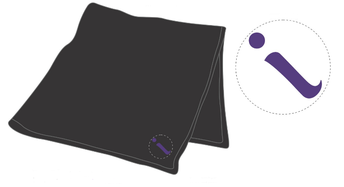Black inspire blanket, with small purple embroidered 'i'