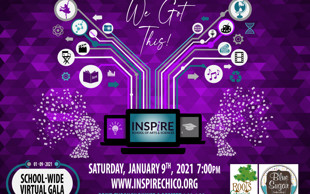 "Inspire school wide virtual gala graphic. Purple background with two pixelated heads facing three computers. Within the computer screen is the inspire logo. Above the computer is the ""we got this"" logo, next to icons that are branching from the computers, as if a digital tree branch. At the bottom of the graphic is white text that reads ""Saturday, January 9th 2021"