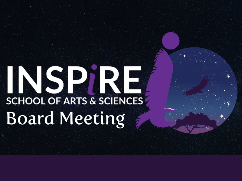 """Graphic image with dark background, and stars popping through. Overlay the inspire logo, alongside white font that reads """"Board Meetings"""" and the inspire school spirit mark next to logo and text. Purple line at bottom."""