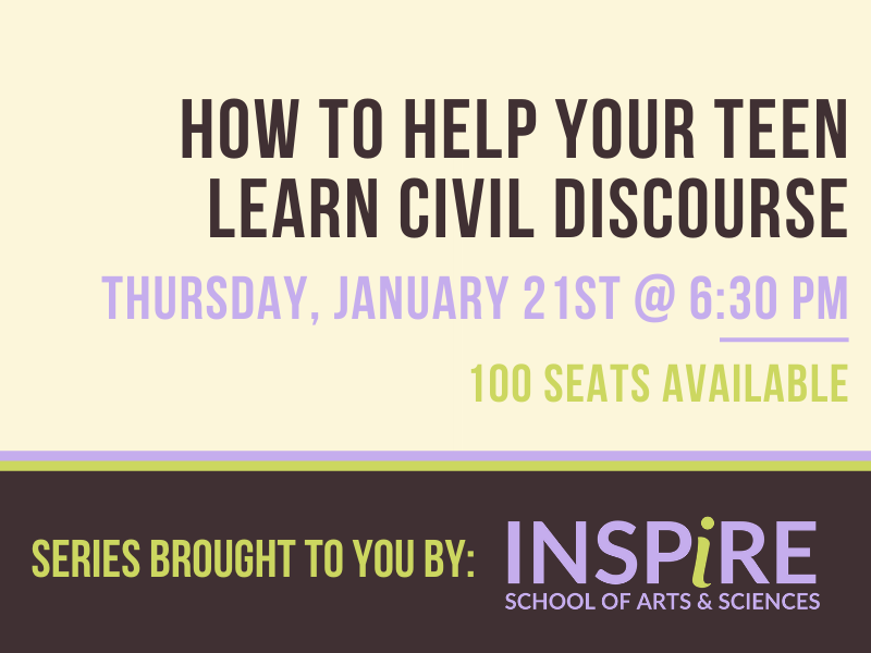 """Retro looking graphic, with brown, cream, lavendar and light green as the accent colors. Text on the graphic reads """"How to help your teen learn civil discourse. Thursday, January 21st at 6:00 p.m."""""""