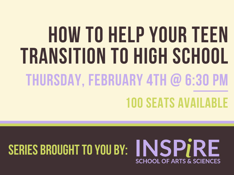 "Retro looking graphic, with brown, cream, lavendar and light green as the accent colors. Text on the graphic reads ""How to help your teen transition to high school Tth at 6:00 p.m."""