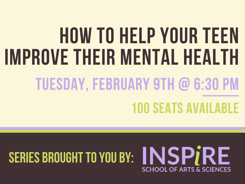 "Retro graphic with cream, brown,lavendar, and lime green with text that reads""How to help your teen improve their mental health. Tuesday, January 21st at 6:30 pm"