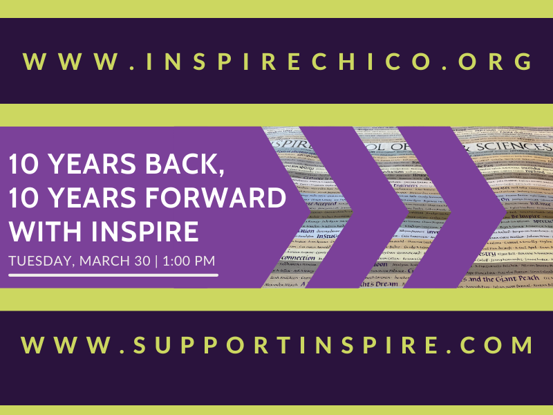 """Graphic with purple arrows facing forward, with text that reads """"10 years back, 10 years forward with Inspire."""""""
