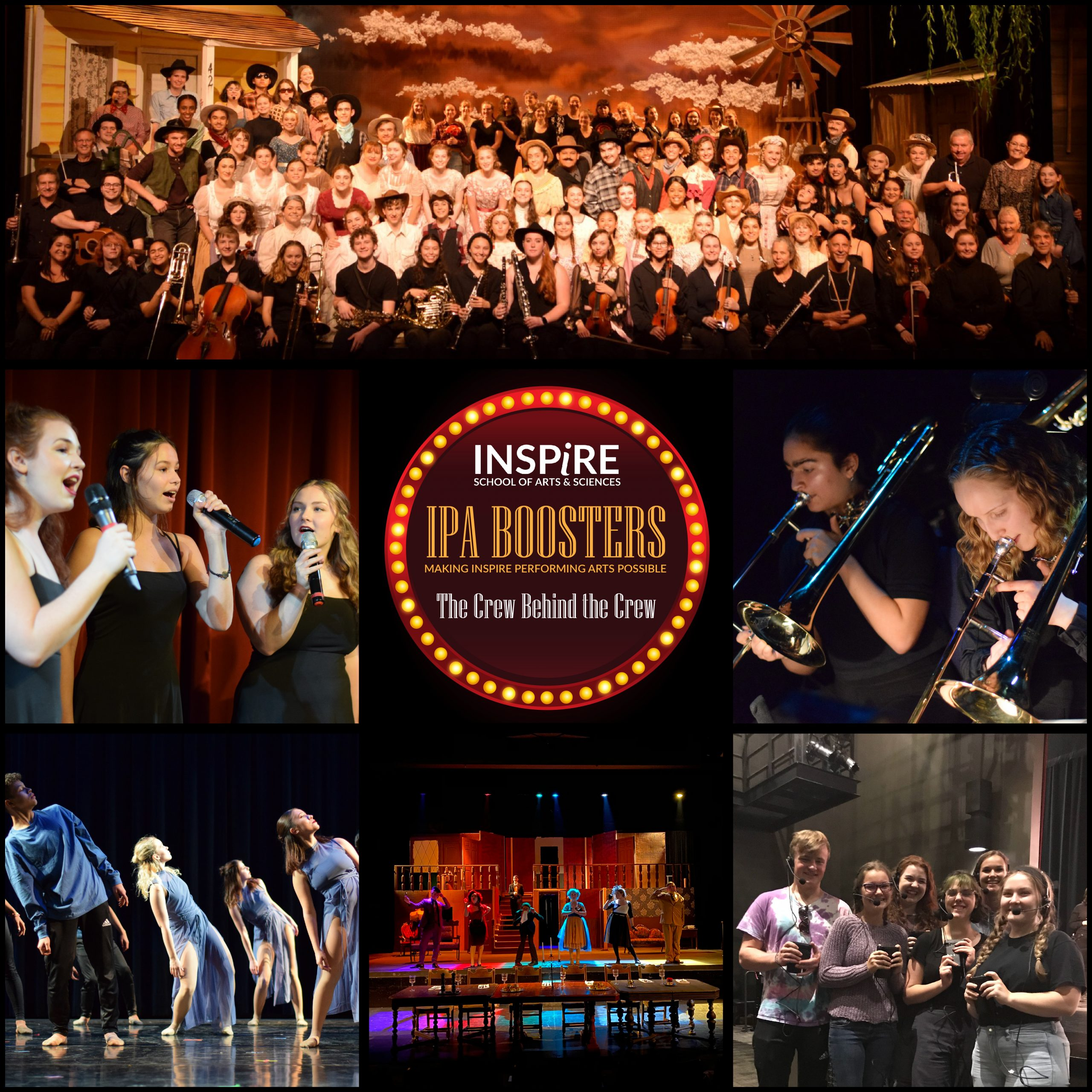 A graphic image with a collage of performing arts students with IPA Boosters logo in middle