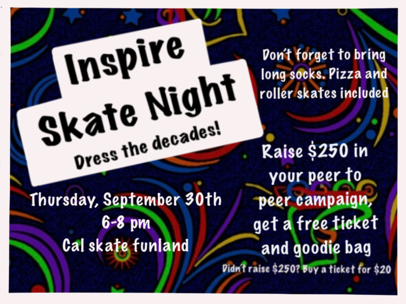 A graphic image with Cal Skate carpet as background, with text overlay that reads Inspire Skate Night Dress the Decades!